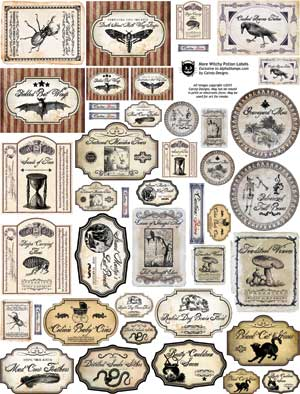 More Witchy Potion Labels Collage Sheet