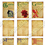 Mythological Dictionary Pages Collage Sheet