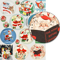 North Pole Round Ornaments Collage Sheet