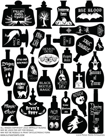 Potion Bottle Silhouettes Collage Sheet