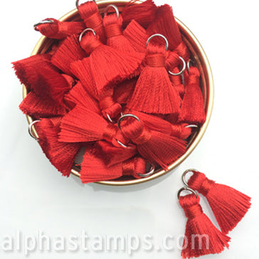 20mm Silky Red Tassels