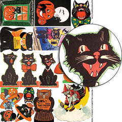 Retro Halloween Cards & Tags Collage Sheet