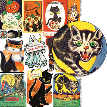 Retro Halloween Party Invitations Collage Sheet