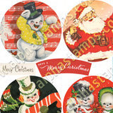 Retro Xmas Round Ornaments Collage Sheet