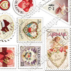 Romantic Faux Postage Half Sheet