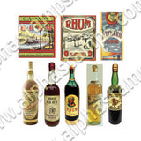 Rum Bottles, Labels & Posters Collage Sheet