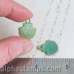 Patina Scallop Shell Charms