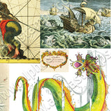 Sea Serpents Collage Sheet