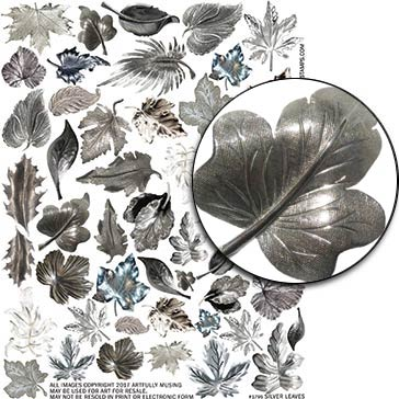 Silver Leaves Collage Sheet