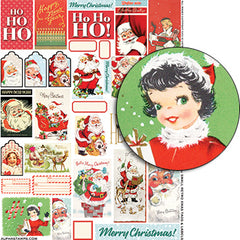 Small Retro Xmas Tags & Labels Collage Sheet
