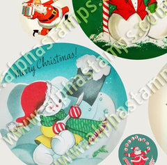 Snowman Round Ornaments Collage Sheet