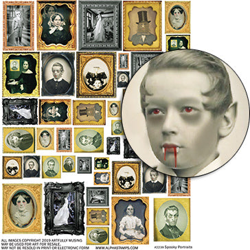 Spooky Portraits Collage Sheet