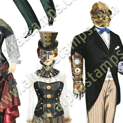 Steampunk People Collage Sheet