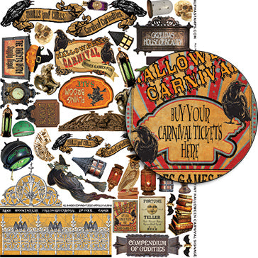 Tiny Halloween Carnival Signage Collage Sheet