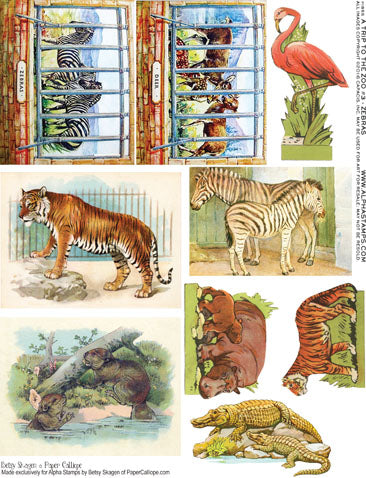 A Trip to the Zoo #3 - Zebras Collage Sheet