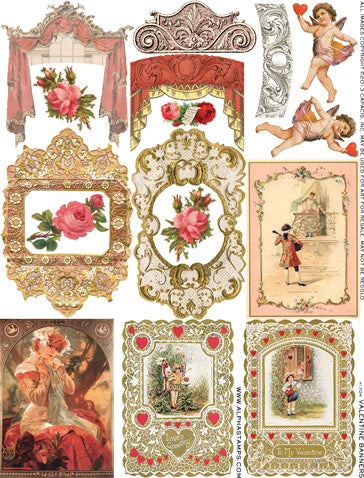 Valentine Banners Collage Sheet