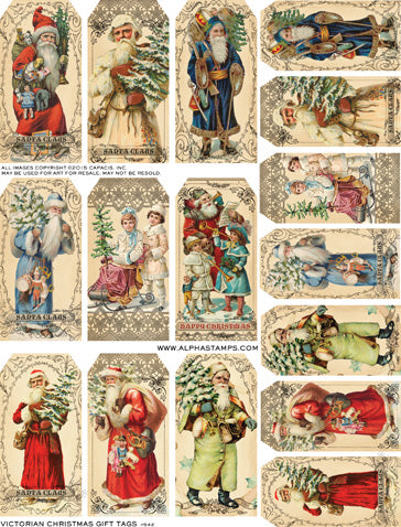 Victorian Christmas Gift Tags Collage Sheet