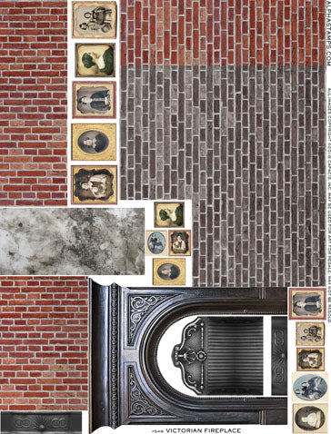 Victorian Fireplace Collage Sheet