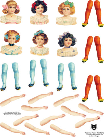 Victorian Paper Doll Parts Collage Sheet