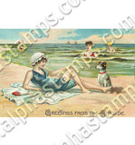 Vintage Beach Babes Collage Sheet