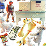 Vintage Tin Toys Collage Sheet