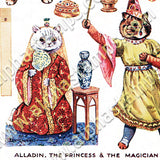 Wain Fairy Tale Cat Paper Dolls Collage Sheet