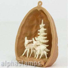 Walnut Shell with Two Deer