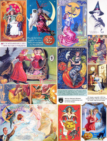 Witchy Postcard Women Collage Sheet