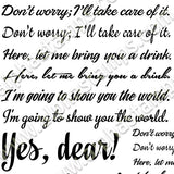 Yes, Dear! Text Collage Sheet
