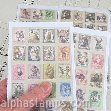 Alice in Wonderland Faux Postage Stamp Stickers