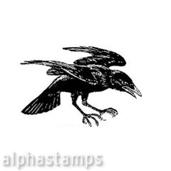 Angry Crow Rubber Stamp