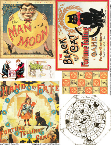 Antique Games Collage Sheet