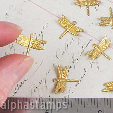 Small Bent-Wing Dragonflies - Raw Brass
