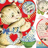 Big Heart Cat Valentines Collage Sheet