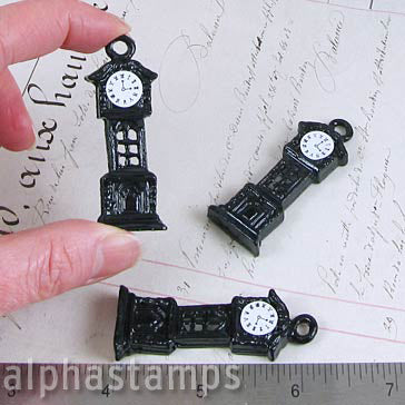 Mini Black Grandfather Clock Charm