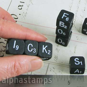 Black Wooden Alpha Dice - Tim Holtz
