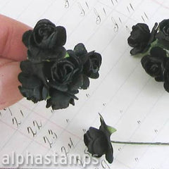 1/2 Inch Black Paper Roses