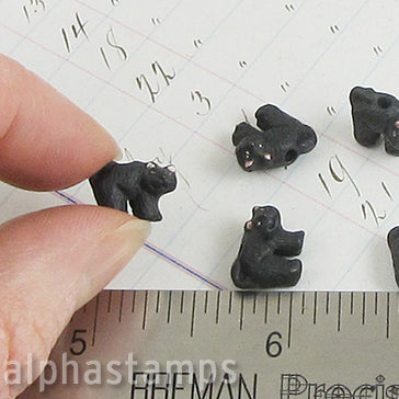Tiny Ceramic Halloween Black Cat Bead