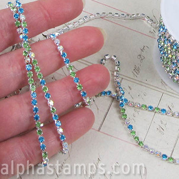 3mm Rhinestone Chain - Green & Blue Mix*