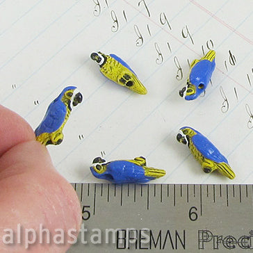 Tiny Ceramic Blue Parrot Bead