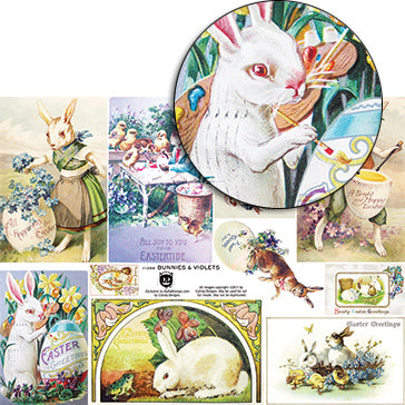 Bunnies & Violets Collage Sheet