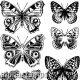 Butterfly Pairs Unmounted Rubber Stamp - Positive & Negative
