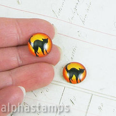 Black Cat Glass Cabochon - 14mm