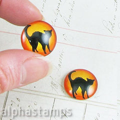 Black Cat Glass Cabochon - 18mm