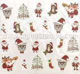 Cat in Santa Hat Tiny Christmas Decals
