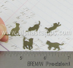 Tiny Metal Cat Silhouettes