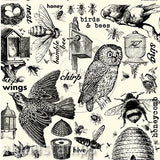 Black & Ivory Birds and Bees Scrapbook Paper
