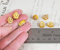 Tiny Ceramic Gingerbread House Bead