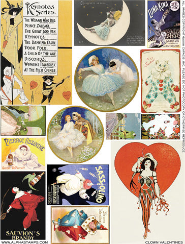 Clown Valentines Collage Sheet