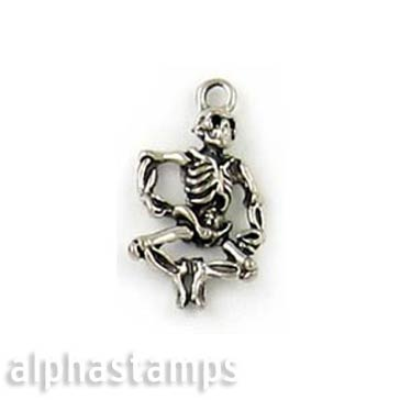 Pewter Dancing Skeleton Charm